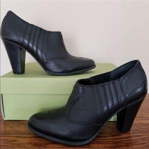 "Gianni Bini ""Savoy"" Black Leather Heeled Booties"